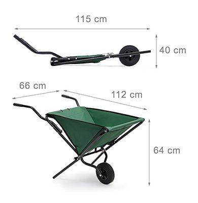 Dimensions du chariot de jardin brouette pliable - Acier et tissu - 30 kg - 50 litres - Ravydays
