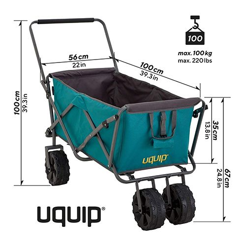 Dimensions du chariot de jardin pliable 100 kg / 200 litres - Uquip Buddy