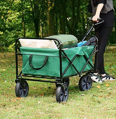 Chariot de jardin pliable vert 4 roues Charge max 80 kg capacité 100 litres - Sequey