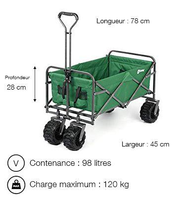 Chariot de jardin pliable vert - Sekey- Charge max : 120 kg - Contenance max : 98 litres