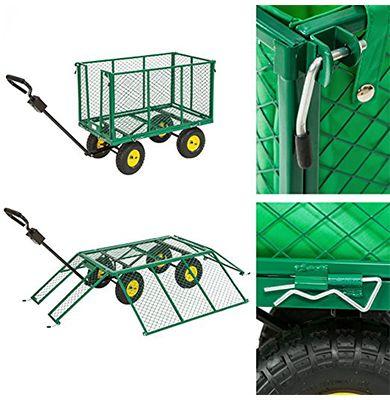 Chariot de jardin remorque 300 kg 200 litres 4 roues - Parois inclinables - Tectake