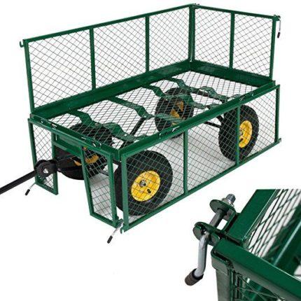 Chariot de jardin remorque en métal 4 roues gonflables capacité 150 litres et 550 kg - Marque : Tectake
