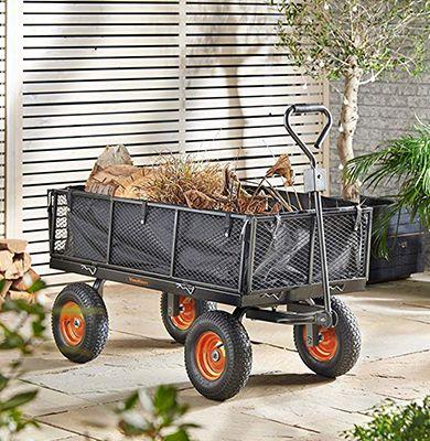 Chariot de jardin VOnhaus 200 litres 500 à 600 kg 4 roues gonflables - Vonhaus