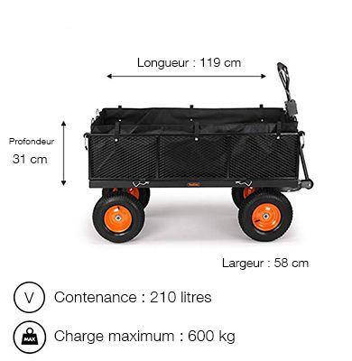 Dimensions du chariot de jardin VOnhaus 200 litres 500 à 600 kg 4 roues gonflables - Vonhaus