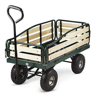 Chariot de jardin remorque Waldbeck Ventura 300 kg 4 roues dimensions 70 x 110 x 55 cm