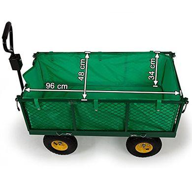 Dimensions du chariot de jardin remorque en métal 4 roues gonflables capacité 150 litres et 550 kg - Marque : Tectake