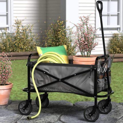 Chariot de jardin pliable Amazon Basics 4 roues tout terrain